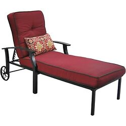 Outdoor Chaise Lounge Chair Pool Lounger Adjustable Recliner Red Patio Furniture