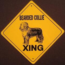 BEARDED COLLIE XING ALUMINUM Sign dogs decor picture signs novelty animals $20.99