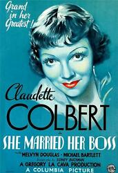 She Married Her Boss Vintage Movie Poster Lithograph Claudette Colbert S2 Art