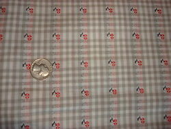 Vintage Cotton Fabric SHADES OF GRAY amp; WHITE GINGHAM CHECK FLORAL 1 Yd 36quot; $9.99