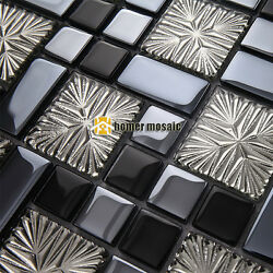 glossy gray black glass mosaic for bathroom shower tile kitchen backsplash