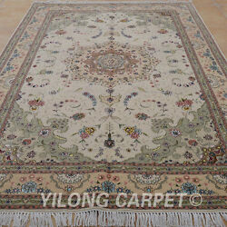 YILONG 6'x9' Hand Knotted Persian Style Wool Silk Rug Kashmir Indoor Carpet 1421