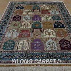 YILONG 5.5'x8' Persian Silk Hand knotted Rug Four Seasons Indoor Carpet 0787