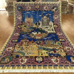 YILONG 6.5'x10' Persian Handknotted Pictorial Silk Carpet Vivid Indoor Rug TJ001