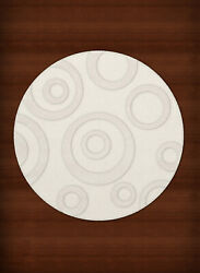 White Transitional Bubbles Rings Area Rug Circles DV5