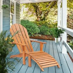 Teak Adirondack Chair With Footstool made by Chic Teak