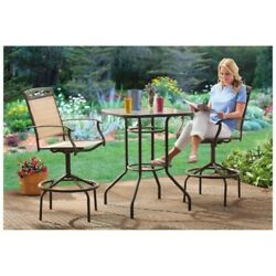 Patio Furniture Dining Set Bar Height Swivel Chairs Pool Deck Backyard Lawn