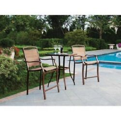 Bar High Outdoor Dining Set 3 Piece Patio Table Chair Furniture Deck Pool Brown