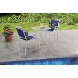Bar High Outdoor Dining Set 3 Piece Patio Table Chair Furniture Deck Pool Blue