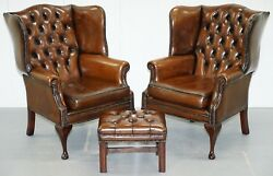 PAIR OF HAND DYED CIGAR BROWN LEATHER CHESTERFIELD WINGBACK ARMCHAIRS