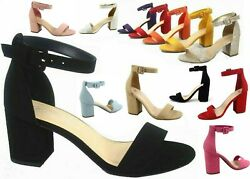 NEW Women's Color Ankle Strap Chunky Low Heel Dress Sandal Shoes Size 5 - 11