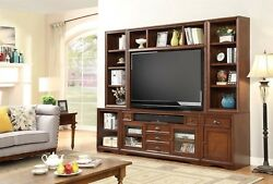 Napa 6 Piece Entertainment Center Finished in Cocoa w Beveled Glass Doors