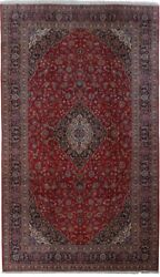 Hand-Knotted Red 10x18 Persian Kashan Signed Rug NATURAL WOOL
