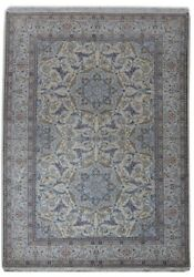 Persian Hand-Knotted 8x12 Rug Fine Quality Wool&Silk Nain Ivory Rug