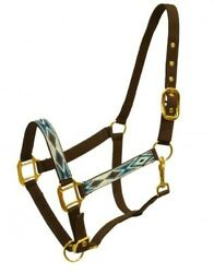 BROWN & TEAL 2 Ply Nylon Western Horse Halter w Diamond Design! NEW HORSE TACK!