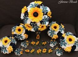 Bridal Bouquet Wedding Navy Blue BEADED Lily Yellow Sunflower 18 piece package