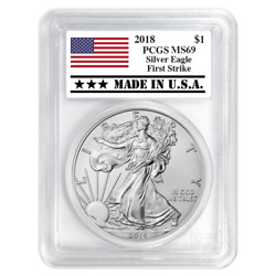 2018 $1 American Silver Eagle PCGS MS69 First Strike Made in USA Label
