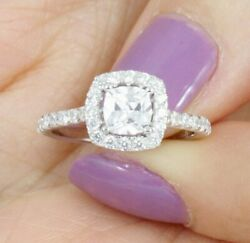 Cushion Halo 925 Sterling Silver Wedding Band Engagement Ring Size 3-15 ML02480A