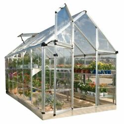 Greenhouses Silver 6 x 12 Feet Crystal Clear Polycarbonate Panels Aluminum Frame