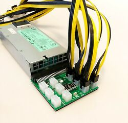 1200W HP server PSU amp; Breakout Board and 6 Pin to 8 Pin 62 PCIe Cable US Ship $149.97