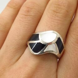 925 Sterling Silver Real Mother-Of-Pearl Black Onyx Gem Wide Wavy Ring Size 7