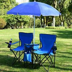 Foldable Picnic Beach Camping Double Chair+Umbrella Table Cooler Fishing Fold Up $59.98