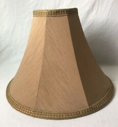 Brown Fabric Table Lamp Shade with Green Gold Trim 16quot; Silk? $29.95