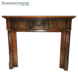 Antique Large Architectural Victorian Carved Wood Fireplace Mantel