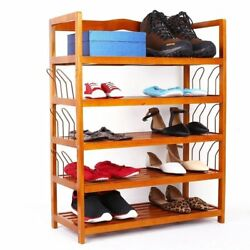 5-Tier Shoe Rack 6 Pairs Shoe Shelf Storage Organizer Entryway Wooden Furniture