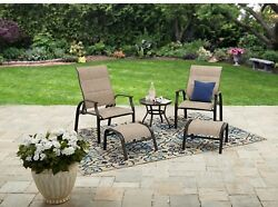 Outdoor Table and Chairs 5 Piece Metal Patio Furniture Set w Ottoman Deck Porch