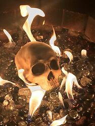 Fire pit skull -!!! Gas and wood fire tested!! New