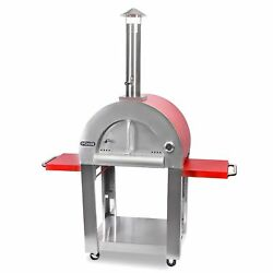 NXR Outdoor Authentic Wood-Fired Pizza Oven w Built-In Cart