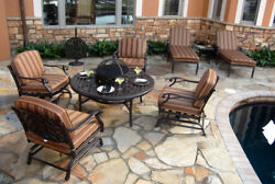 9Pc Outdoor Patio Fire Pit Chat Set Round Table 4 Arm Chairs 2 Chaise End Table