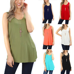 Sleeveless Flowy Tank Top Soft Knit Tunic Women Scoop Neck Loose Fit Blouse Long $10.95