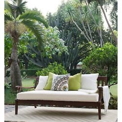 Patio Daybed with Seat Cushion Sofa Wood Outdoor Furniture Deck Garden Lounge
