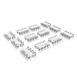 New 12 Lifetime 80543 8-Ft Folding Tables and 96 Chairs Indoor Outdoor Portable