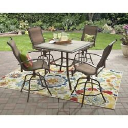5 Piece Outdoor Dining Set Counter High Patio Table Bar Height Swivel Chairs