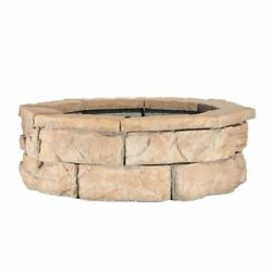 Fire Pit Kit Fossill Brown 30 in. Concrete Block Wood Burning Fire Bowl