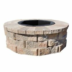 Fire Pit Rockwall Round 40W x 14H in. Durable Fire Bowl Multi-Colored Palomino