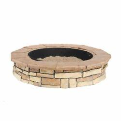 Fire Pit Random Stone 44 in. Brown Round Fire Bowl Kit 2-Piece Steel Ring Insert