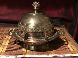 Antique Rogers & Bros Triple Plate Crown Butter Dish #491 Hard White Metal
