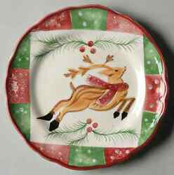 The Cellar LOG CABIN CHRISTMAS Reindeer Accent Salad Plate 5828554