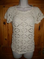 Zara granny lace knit short sleeved summer jumper w button back - M UK 12 BNWT