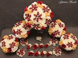 Bridal Bouquet Wedding Flower Red Burgundy Taupe 18 piece package BEADED LILIES