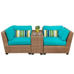 3 PC Outdoor Wicker Patio Set Lounge Seating Group WCushion Rattan Table Chairs