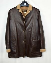 Loro Piana Leather 100% Cashmere Car Coat Jacket Brown 42  US 4 Women's Small