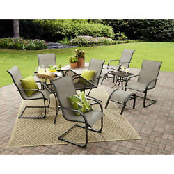 10 Piece Patio Dining Table Set Outdoor Ottoman Chairs Grey Garden Furniture