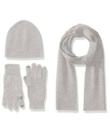 New 100% Cashmere Knit Scarf Glove Hat Beanie Skull Cap Set Silver Gray