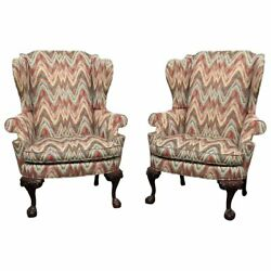 Pair of Southwood Chippendale Style Wing Chairs