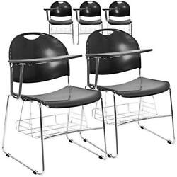 Flash Furniture 5 Pk. Black Plastic Chair with Right Handed Flip-Up Tablet